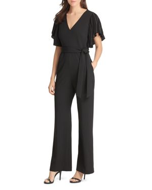 PLEATED FLUTTER-SLEEVE JUMPSUIT