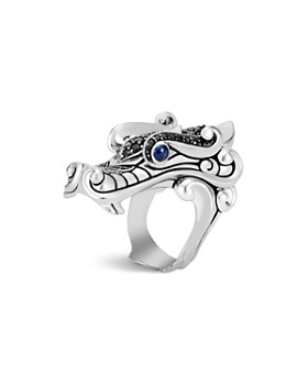 JOHN HARDY - Sterling Silver Legends Naga Black Spinel & Blue Sapphire Eyes Ring