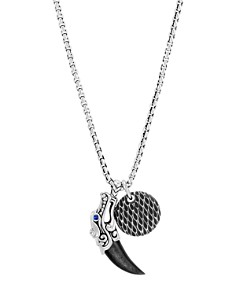 JOHN HARDY - Sterling Silver Legends Naga Silver Sheen Obsidian & Blue Sapphire Eyes Pendant Box Chain Necklace, 24""