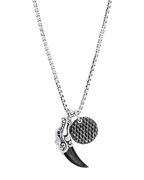 "JOHN HARDY - Sterling Silver Legends Naga Silver Sheen Obsidian & Blue Sapphire Eyes Pendant Box Chain Necklace, 24"""