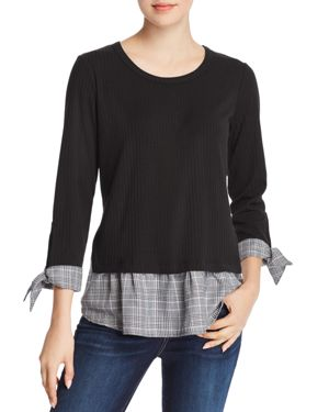 STATUS BY CHENAULT Status By Chenault Plaid Trim Ribbed Top in Black/White