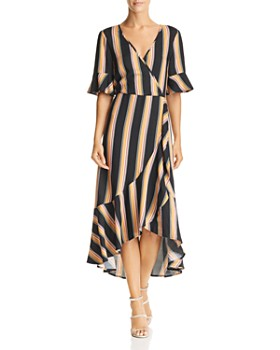 Band of Gypsies - Victoria Herringbone Stripe Wrap Dress