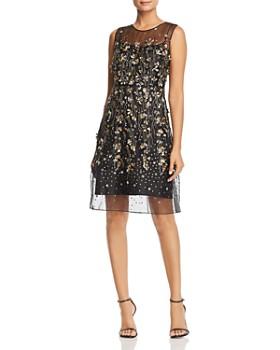 Elie Tahari - Hermione Floral-Embellished Illusion Dress