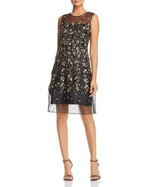 Elie Tahari Hermione Floral-Embellished Illusion Dress