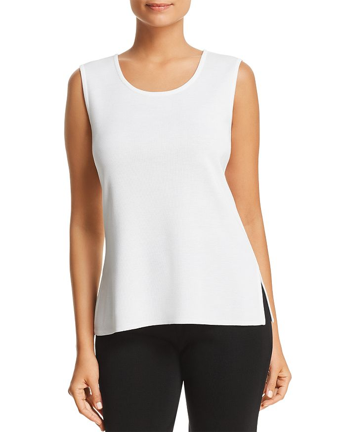 Misook Plus Size Sleeveless Long Tank Top In White