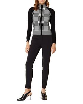 KAREN MILLEN - Check Zip-Front Cardigan