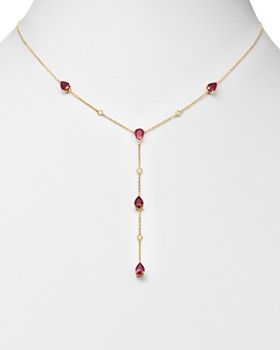 Bloomingdale's - Ruby & Diamond Y Necklace in 14K Yellow Gold - 100% Exclusive