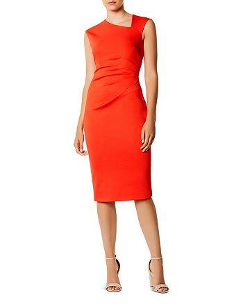 KAREN MILLEN - Asymmetric Ruched Sheath Dress