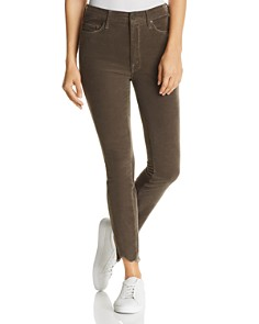MOTHER - Looker High-Rise Chewed-Hem Corduroy Skinny Jeans in Taupe