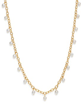 Bloomingdale's - Cultured Freshwater Pearl Tin Cup Necklace in 14K Yellow Gold - 100% Exclusive