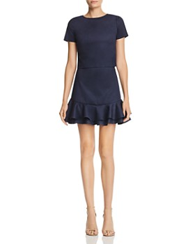 AQUA - Ruffled Faux Suede Skirt - 100% Exclusive
