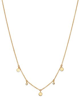 Zoë Chicco - 14K Yellow Gold Itty Bitty Diamond Dangling Round Discs Necklace, 16""