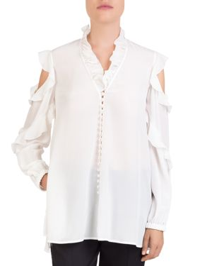The Kooples Silk Ruffle-Trim Shirt