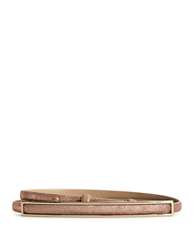 REISS - Goya Metallic Leather Skinny Belt