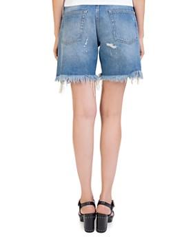 The Kooples - Rhinestone-Trim Distressed Denim Shorts in Vintage Blue
