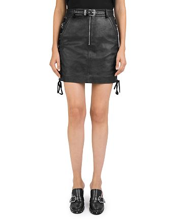 44aa3f868a3 The Kooples Lace-Up Leather Skirt | Bloomingdale's