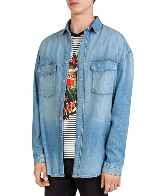 The Kooples - Oversized Faded Denim Shirt