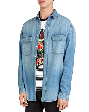 The Kooples Oversized Faded Denim Shirt