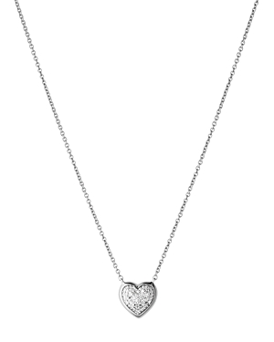 Links Of London LINKS OF LONDON STERLING SILVER DIAMOND ESSENTIALS PAVE HEART NECKLACE, 17.7