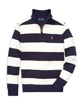 Ralph Lauren - Boys' Supima® Striped Quarter-Zip Sweater - Big Kid