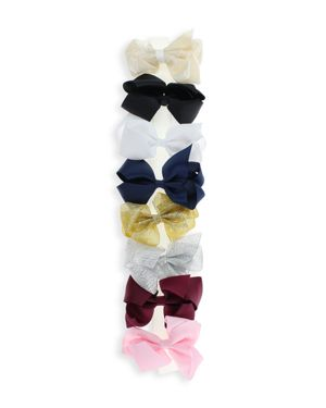 Capelli Girls' Bow Hair Clips, Set of 8
