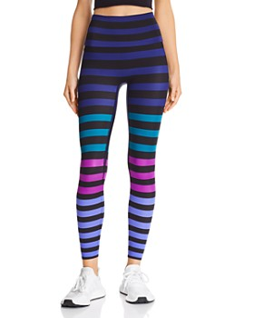 K-Deer - High-Rise Striped Ankle Leggings