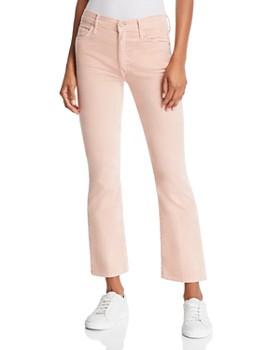 MOTHER - The Insider Velvet Cropped Flared Jeans in Petal Pink