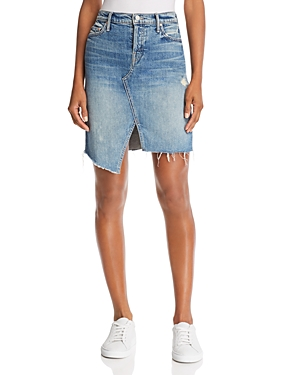 Mother The Tomcat Slide Frayed Denim Skirt
