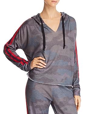 Vintage Havana Striped-Sleeve Camo Hooded Sweatshirt