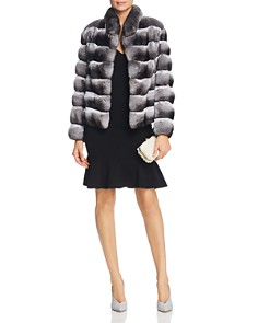 Maximilian Furs - Chinchilla Fur Coat with Mink Fur Trim - 100% Exclusive