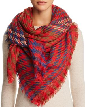 JANE CARR Houndstooth Scarf in Red
