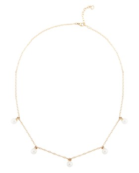 """MATEO - 14K Yellow Gold Five Point Cultured Freshwater Pearl Choker Necklace, 16"""""""