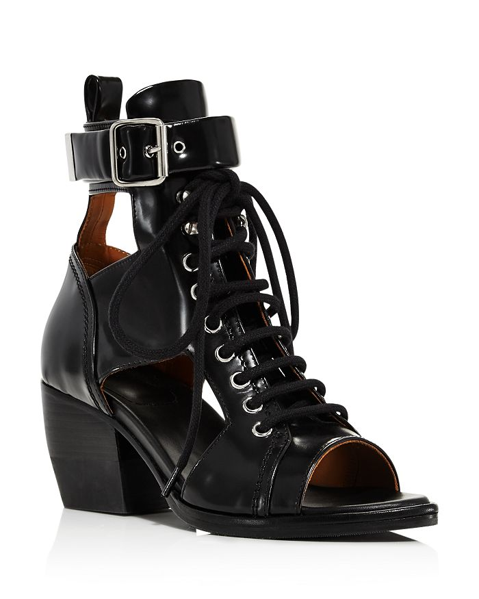 wide range hot products cheapest Women's Rylee Leather Open-Toe Lace Up Booties