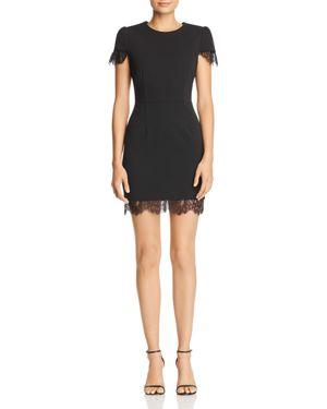 BETSEY JOHNSON Lace-Trim Short-Sleeve Scuba Dress in Black