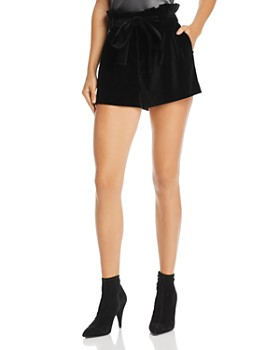 Alice and Olivia - Laurine Velvet Paperbag-Waist Shorts