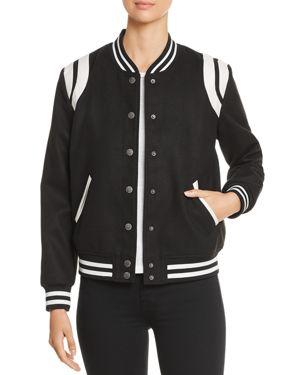 VELVET HEART Eve Collegiate Bomber Jacket in Black