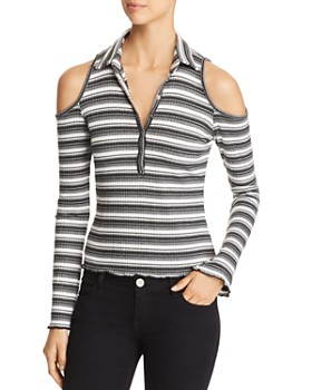 Red Haute - Striped Cold-Shoulder Top