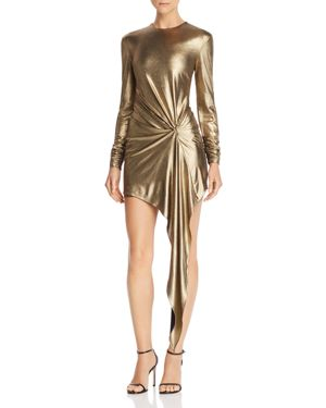 Haddash Draped Lame Mini Dress, Gold