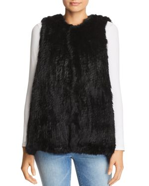 525 AMERICA Rabbit Fur Long Vest - 100% Exclusive in Black