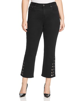 Seven7 Jeans Plus - Grommet-Trim Bootcut Ankle Jeans in Abbys Black