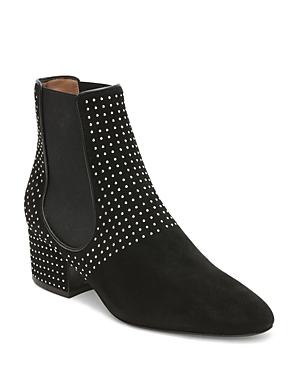 Laurence Dacade WOMEN'S STUDDED SUEDE BLOCK HEEL BOOTIES