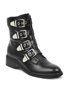 Marc Fisher LTD. - Women's Diante Buckled Leather Military Booties