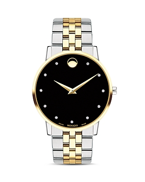 Movado Museum Classic Two-Tone Diamond-Index Watch, 40mm-Jewelry & Accessories
