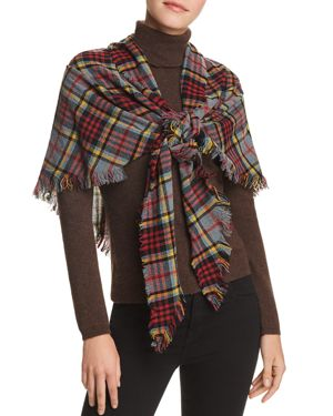 FRAAS V Fraas Tartan Triangle Scarf in Red/Gray
