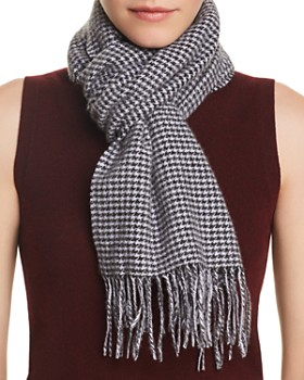 C by Bloomingdale's - Mini Houndstooth Cashmere Scarf - 100% Exclusive