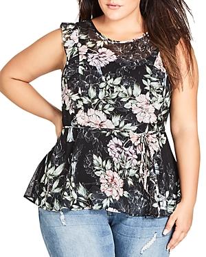 City Chic Plus Sleeveless Floral-Print Peplum Top