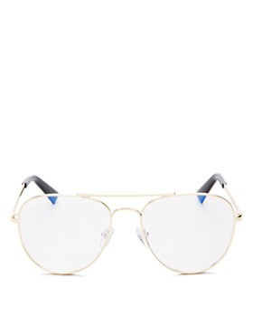 The Book Club - Women's Hard Crimes Brow Bar Aviator Blue Screen Filter Glasses, 55mm