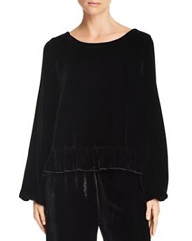 CHASER - Ruffle-Trim Velvet Pullover Top