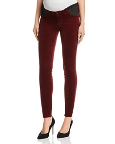 J Brand - Mama J Super Skinny Velvet Maternity Jeans in Oxblood