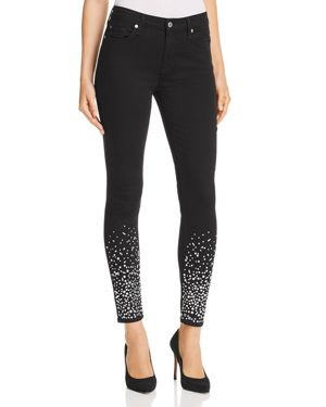 7 For All Mankind Embellished Ankle Skinny Jeans in B(air) Black with Rhinestones 3117263